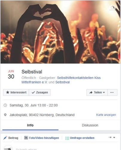 Screenshot von der Selbstival Veranstaltung auf Facebook