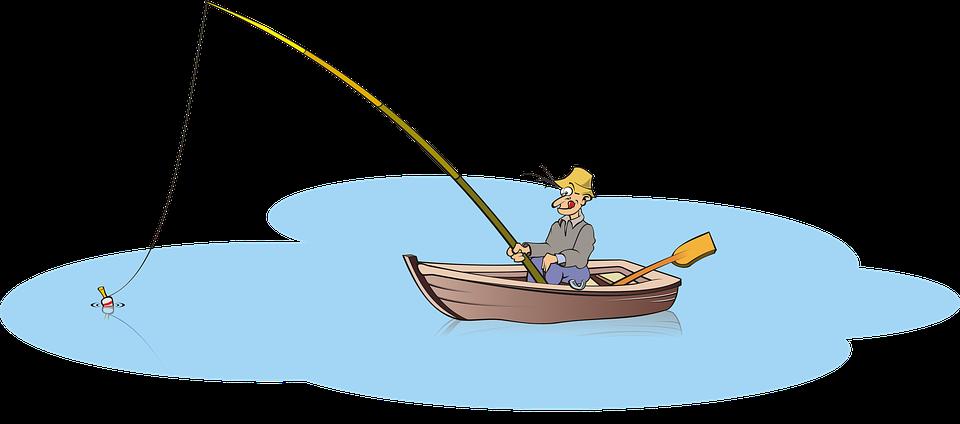 Grafik Angler im kleinen Boot