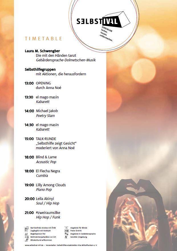 Programm des Festivals mit Uhrzeiten